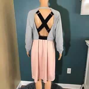 Topshop dress 8 pink grey sweatshirt black straps